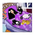 Girl & 4 Cats Tile Coaster