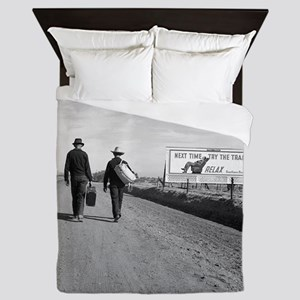 Hitchhikers Outside Los Angeles, 1937 Queen Duvet