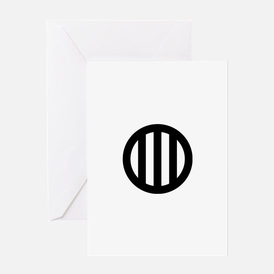 Three vertical lines with circle Greeting Card