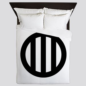 Three vertical lines with circle Queen Duvet