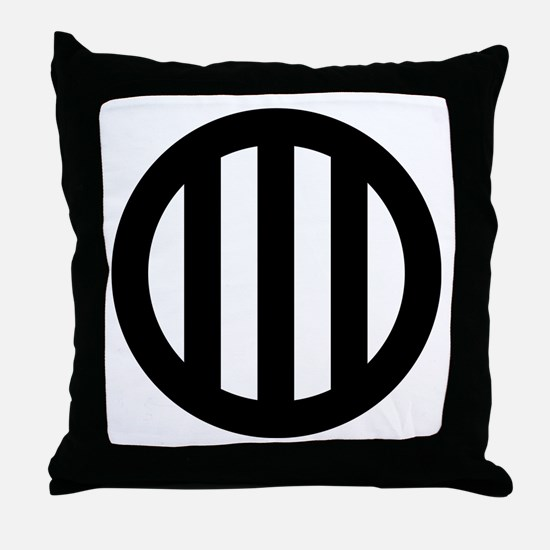 Three vertical lines with circle Throw Pillow