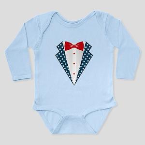 Patriotic Tuxedo Long Sleeve Infant Bodysuit