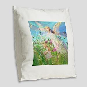 Flower Field Burlap Throw Pillow
