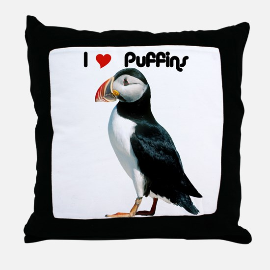 I Luv Puffins Throw Pillow