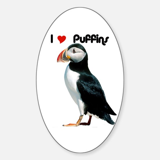 I Luv Puffins Oval Decal