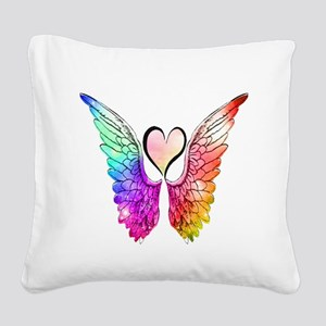 Angel Wings Heart Square Canvas Pillow