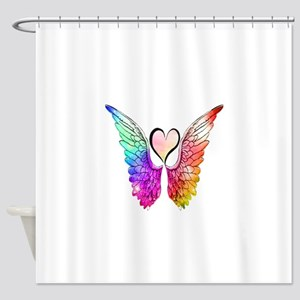 Angel Wings Heart Shower Curtain