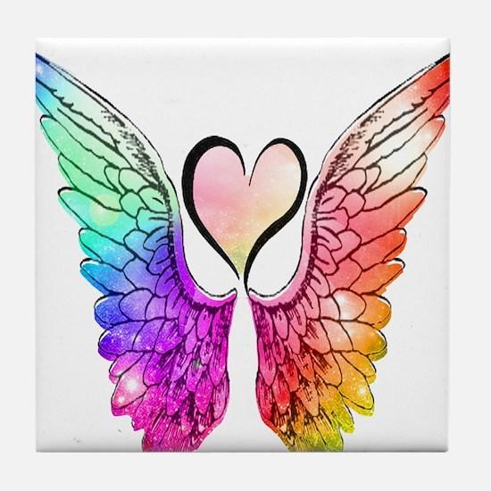 Angel Wings Heart Tile Coaster
