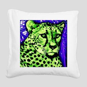 Cheetah, neon colors Square Canvas Pillow