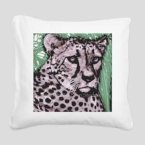 Cheetah, pastel colors Square Canvas Pillow