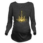 Golden Winged Guitar Long Sleeve Maternity T-Shirt