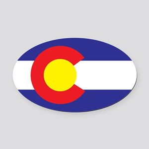 Colorado State Flag Oval Car Magnet
