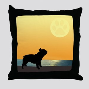 French Bulldog Surfside Sunset Throw Pillow