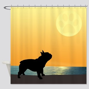 French Bulldog Surfside Sunset Shower Curtain