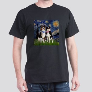 Starry/2 Australian Shepherds Dark T-Shirt