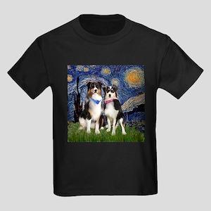 Starry/2 Australian Shepherds Kids Dark T-Shirt