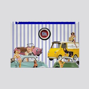 Micro-pinups/lavender background Rectangle Magnet