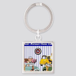 Micro-pinups/lavender background Square Keychain