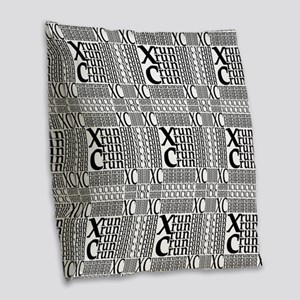 XC Run Repeats Burlap Throw Pillow