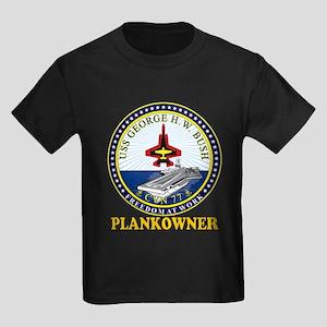 CVN-77 Plankonwer Crest Kids Dark T-Shirt