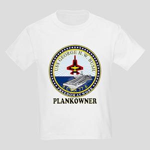 CVN-77 Plankonwer Crest Kids Light T-Shirt
