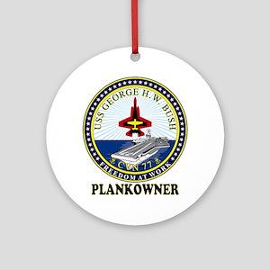 CVN-77 Plankonwer Crest Ornament (Round)