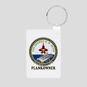 CVN-77 Plankonwer Crest Aluminum Photo Keychain