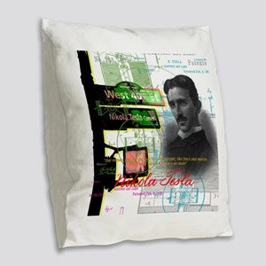 Nikola Tesla NY Burlap Throw Pillow