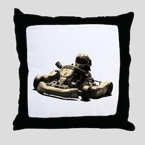 Kart Racer Sepia Tone Throw Pillow