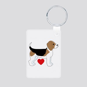 Beagle Love Aluminum Photo Keychain