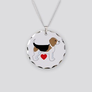 Beagle Love Necklace Circle Charm