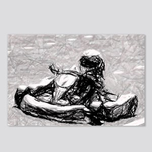 Kart Racer Gray Sketch Postcards (Package of 8)