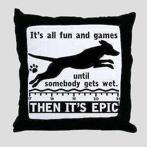 Dock Jumping Dog Throw Pillow