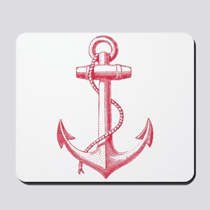 vintage red anchor Mousepad