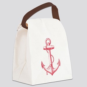 vintage red anchor Canvas Lunch Bag