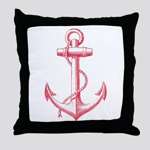 vintage red anchor Throw Pillow