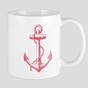 vintage red anchor Mugs