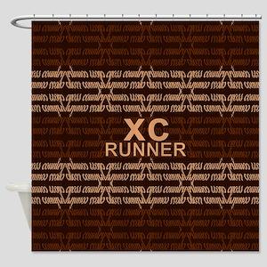 XC Runner brown Shower Curtain