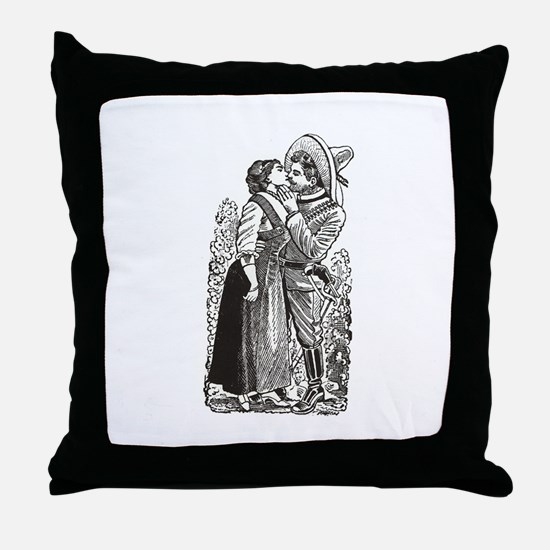 Last Kiss - Posada Woodcut Throw Pillow