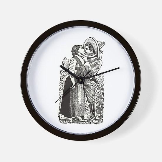 Last Kiss - Posada Woodcut Wall Clock