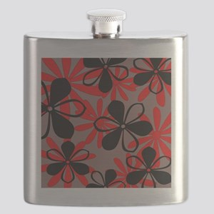 Red and Black Floral Flask