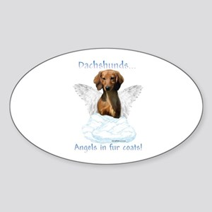 Dachshund Angel Oval Sticker
