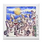 Cute Cartoon Rabbit Moon Tile Coaster