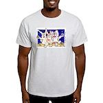 Cute Cartoon Rabbit Moon Ash Grey T-Shirt