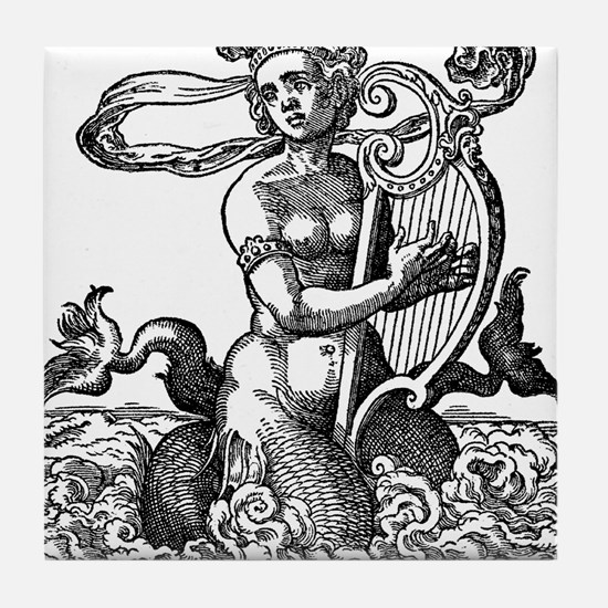 Mermaid with Lyre Tile Coaster