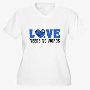 Autism LOVE No Words Plus Size T-Shirt