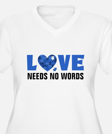 Autism LOVE No Words Plus Size T-Shirt