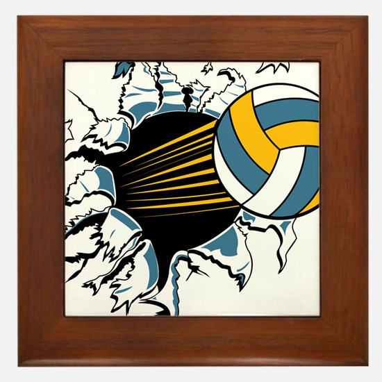 Volleyball Burst Framed Tile