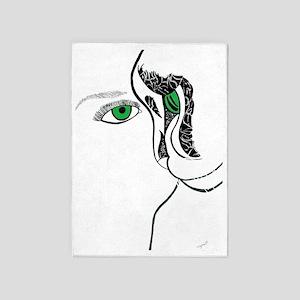 Green eye girl and cat 5'x7'Area Rug