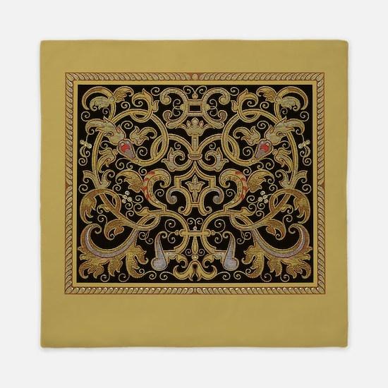 Ornate Black and Gold Queen Duvet